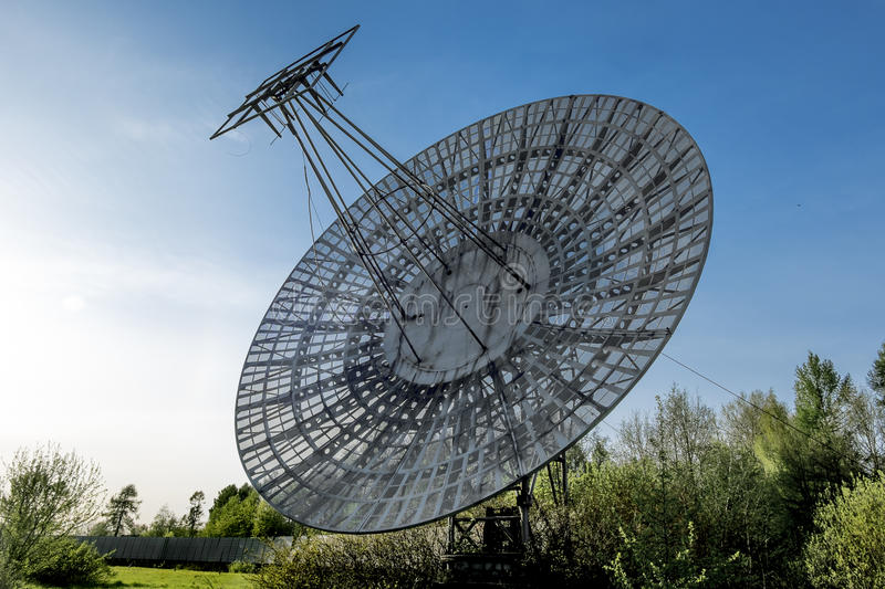Antenna radio telescope of the Pulkovo Observatory in St. Peters. May 7, 2016. Saint-Petersburg.Antenna radio telescope of the Pulkovo Observatory in St stock images
