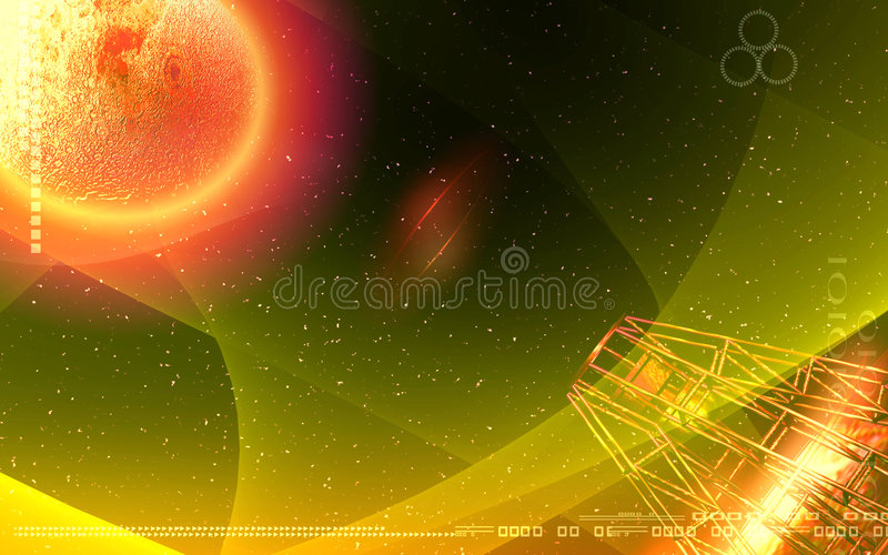 Antenna Sending Signals To A Planet Stock Photos