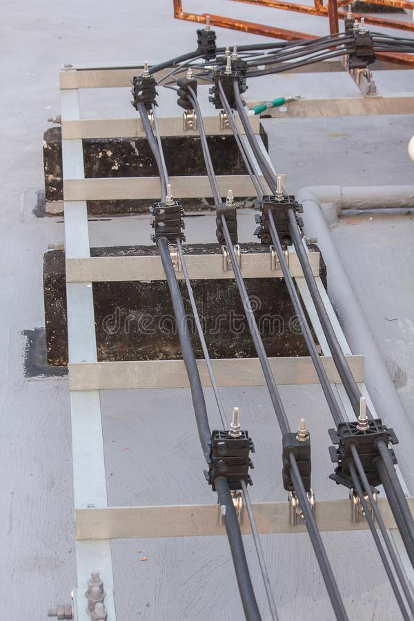 Antenna signal cable installed on the cement floor. Of the building stock photography