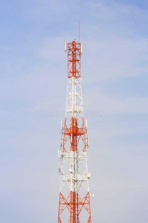 Antenna. Telecommunication antenna with blue sky background stock photos