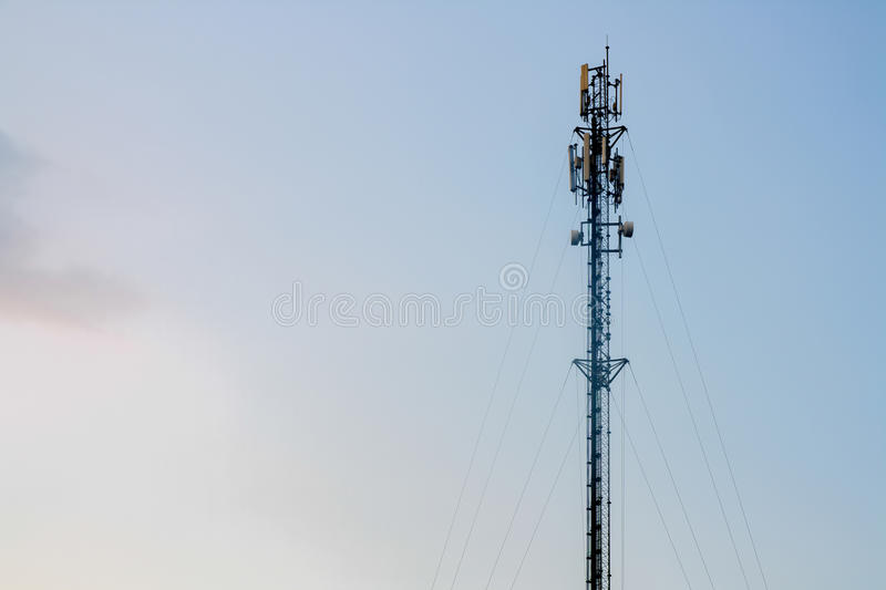 Antenna. Telecommunication tower with antennas with blue sky stock images