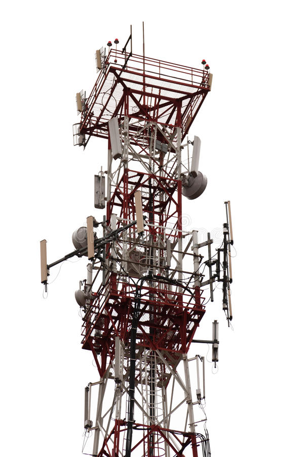 Antenna tower. Mobile phone communication repeater antenna tower stock image