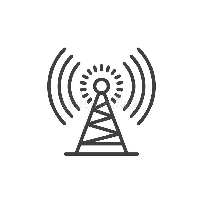 Antenna tower line icon, outline vector sign, linear style pictogram isolated on white. Symbol, logo illustration. Editable stroke. Pixel perfect royalty free illustration