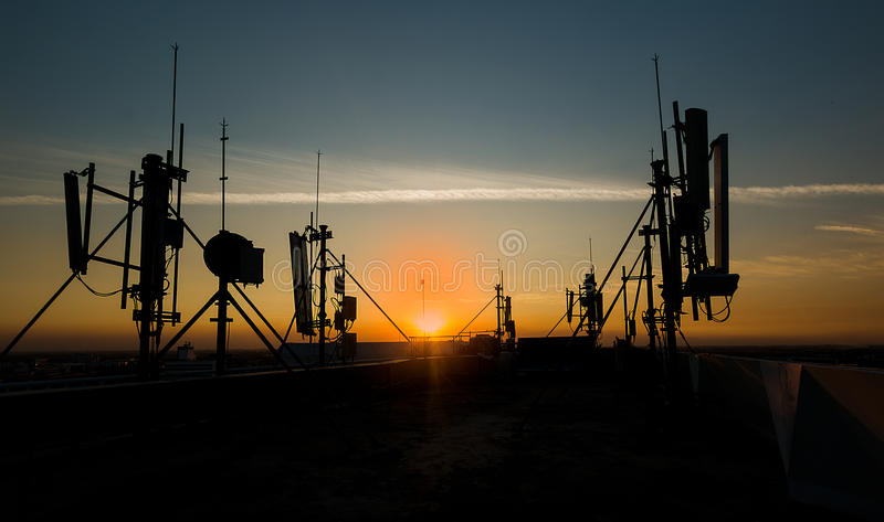 Antenna tower. Worker man go on antenna tower for work your jobs stock photography