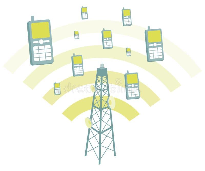 Antenna transmtting mobile phones royalty free illustration