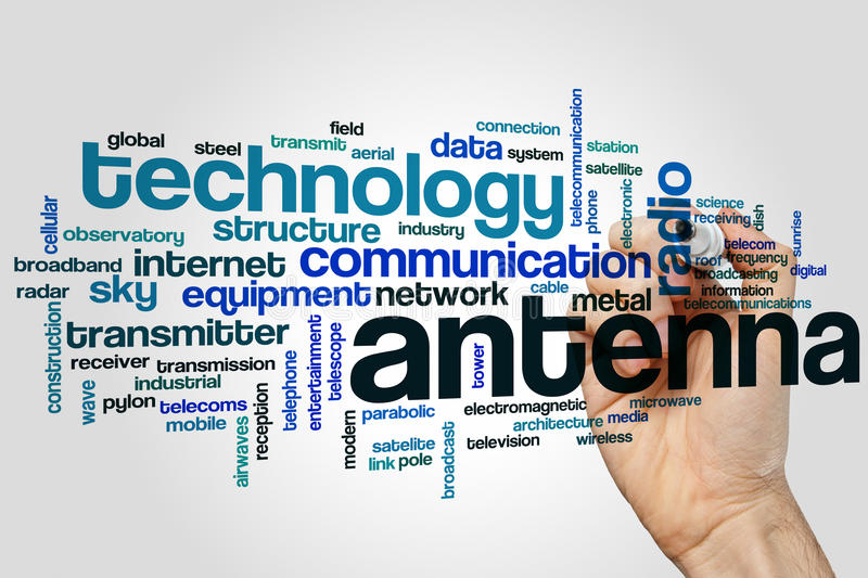 Antenna word cloud. Concept on grey background royalty free stock photography