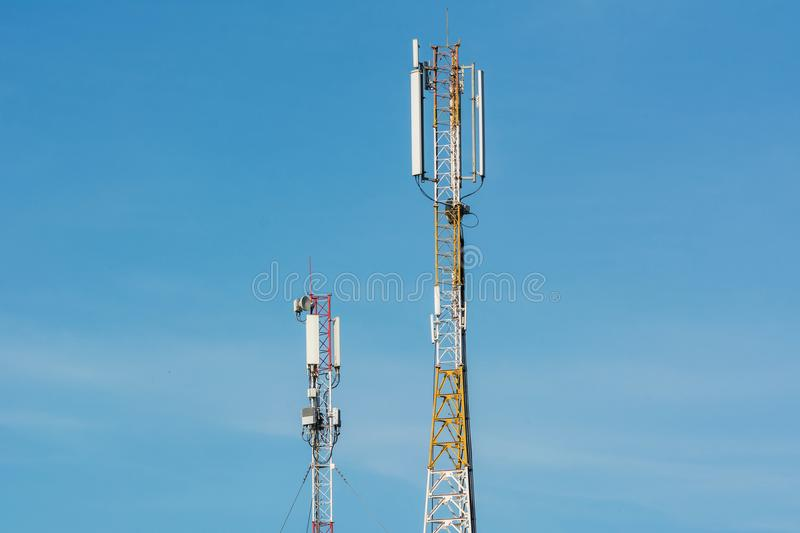 Antennas for communication of cell phones. Large tower with antennas for communication of cell phones. 4G and 4.5G Cell site, Telecom radio tower or mobile phone stock images
