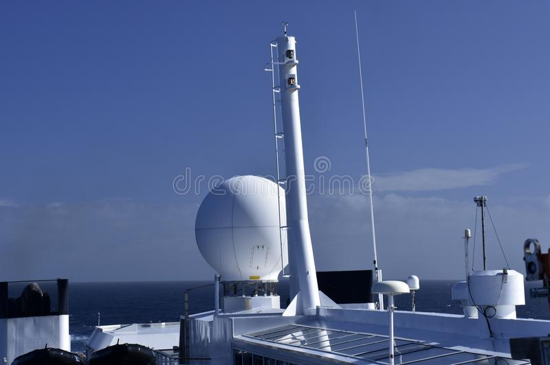Antennas and communication equipment. On a cruis ship royalty free stock image