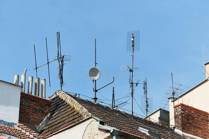 Antennas on a roof royalty free stock images