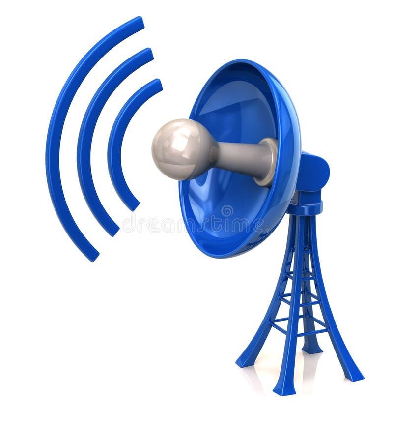 Antenne bleue d'antenne parabolique de technologie illustration stock