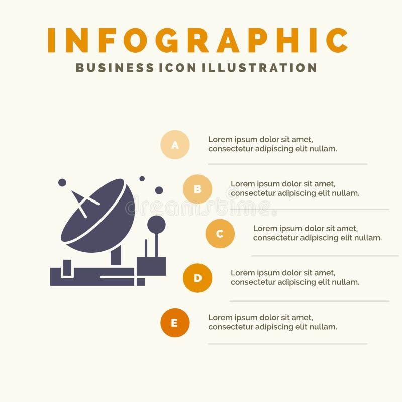 Antenne, communication, parabolique, satellite, fond solide de présentation d'étapes d'Infographics 5 d'icône de l'espace illustration libre de droits