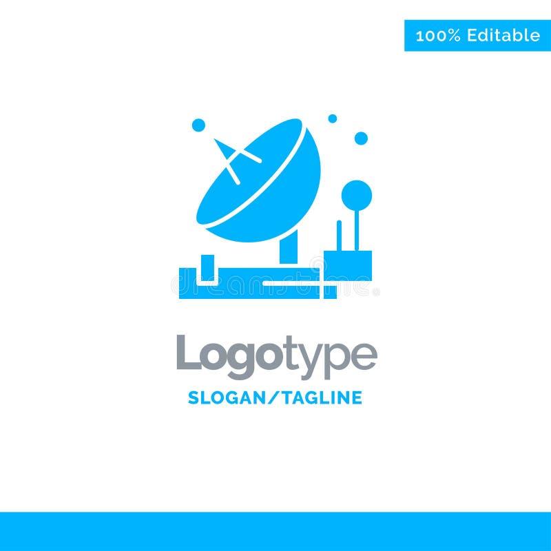 Antenne, communication, parabolique, satellite, l'espace Logo Template solide bleu Endroit pour le Tagline illustration stock