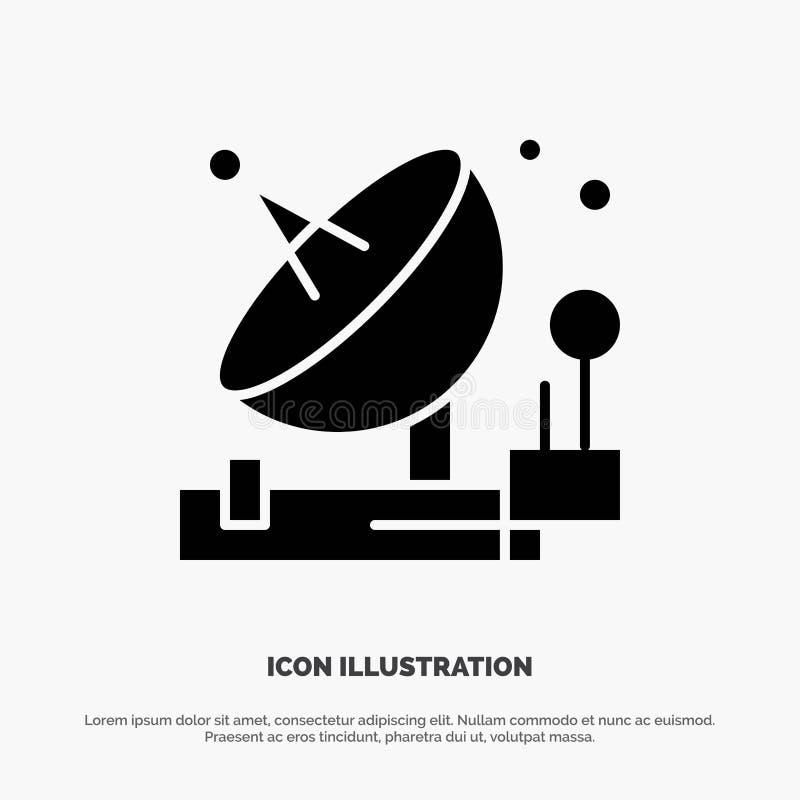 Antenne, communication, parabolique, satellite, vecteur solide d'icône de Glyph de l'espace illustration libre de droits