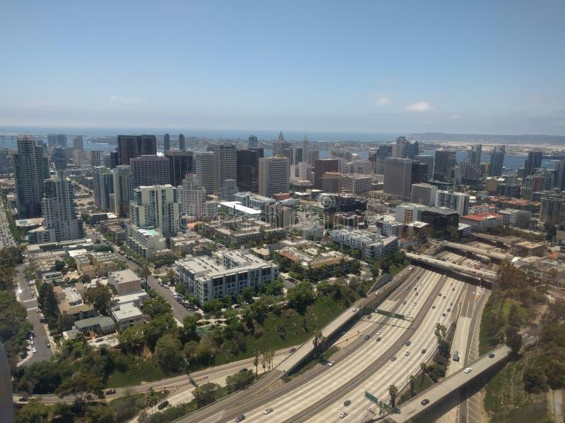 Antenne d'avion, route de ville de San Diego photo stock
