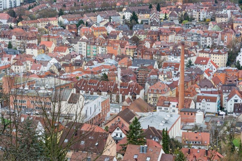 Antenne de Stuttgart de la ville fortement serrée ci-dessus S de Kessel Biulding images stock