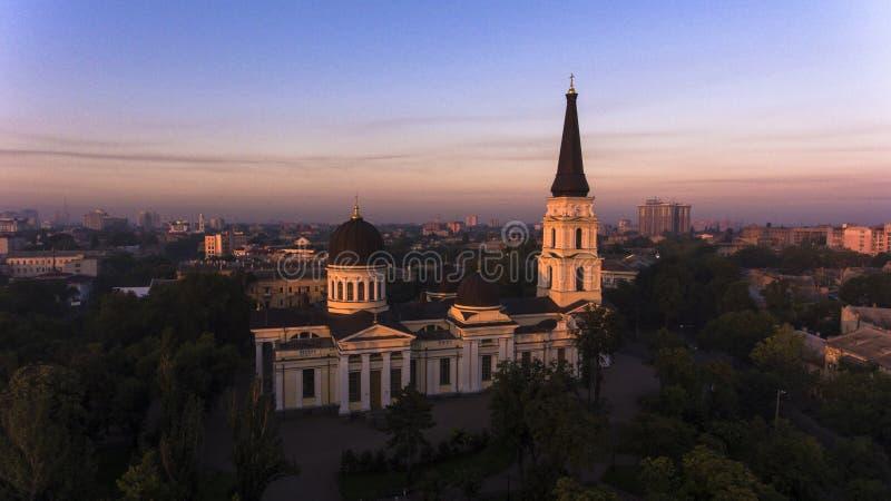Antenne de Transfiguratiekathedraal in Odessa, de Oekraïne stock foto's