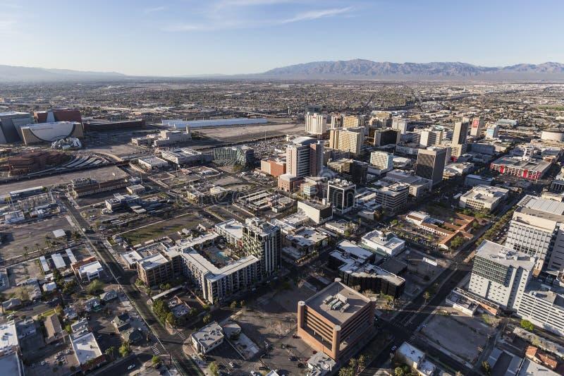 Antenne de van de binnenstad van Las Vegas stock afbeeldingen