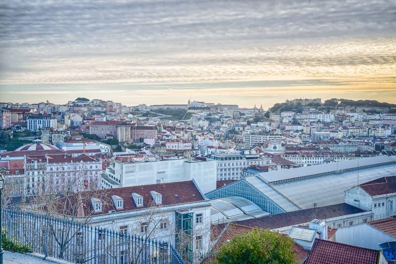 Antenne de ville de Lisbonne photos libres de droits