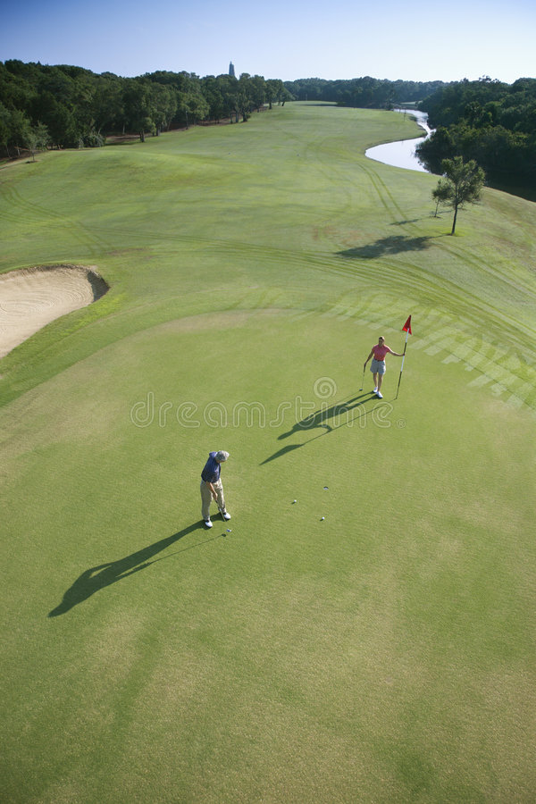 Antenne der Golfspieler. stockfotos