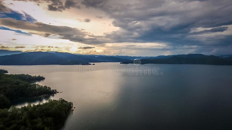 Antenne des montagnes du sud de Carolina Lake Jocassee Gorges Upstate photos stock