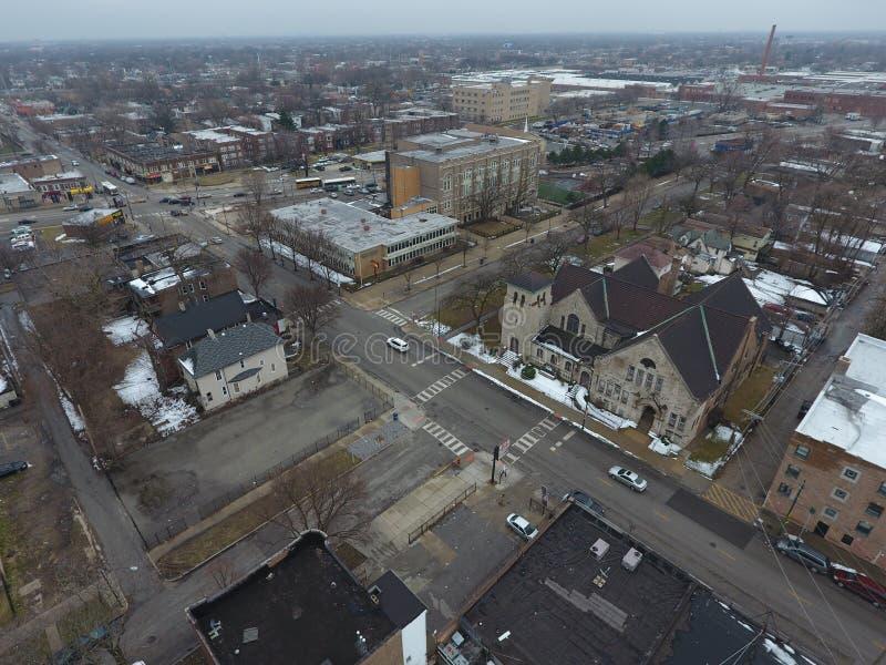 Antenne die van Chicago Illinois wordt geschoten stock fotografie