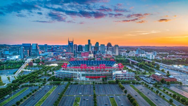 Antenne du centre d'horizon de Nashville, Tennessee, Etats-Unis photographie stock libre de droits