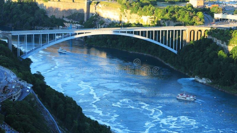 Antenne du pont en arc-en-ciel dans les chutes du Niagara, Canada photographie stock