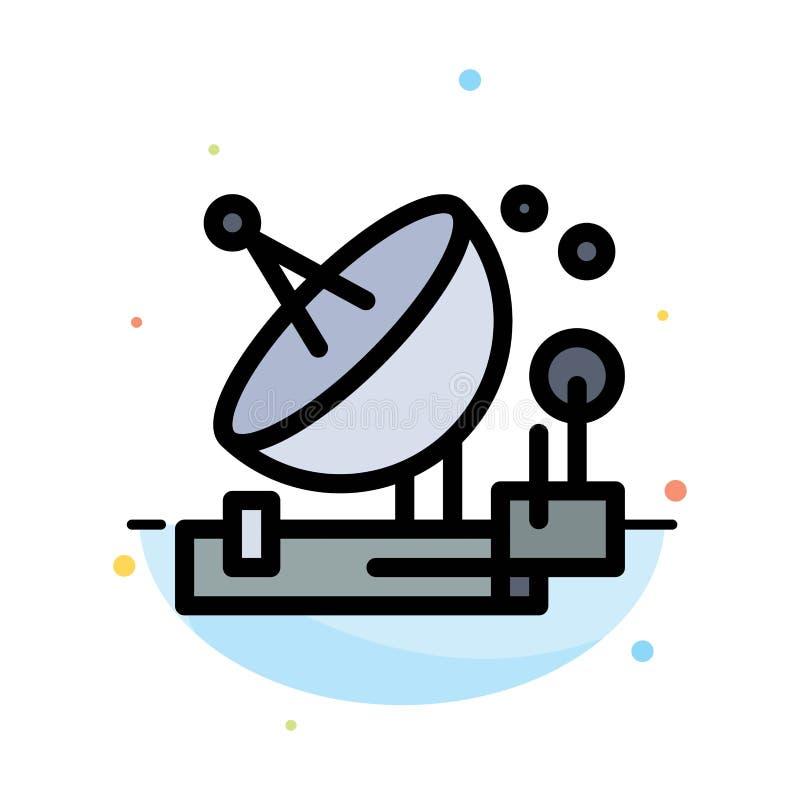 Antenne, Mededeling, het Parabolische, Satelliet, Ruimte Abstracte Vlakke Malplaatje van het Kleurenpictogram vector illustratie