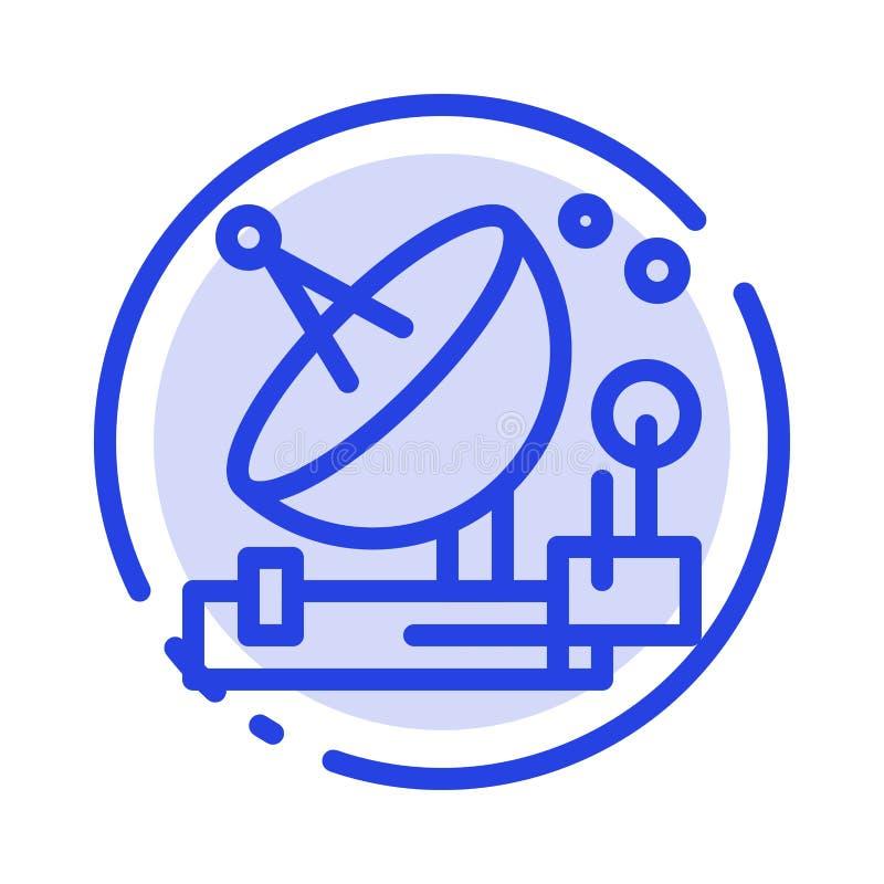 Antenne, Mededeling, het Parabolische, Satelliet, Ruimte Blauwe Pictogram van de Gestippelde Lijnlijn stock illustratie