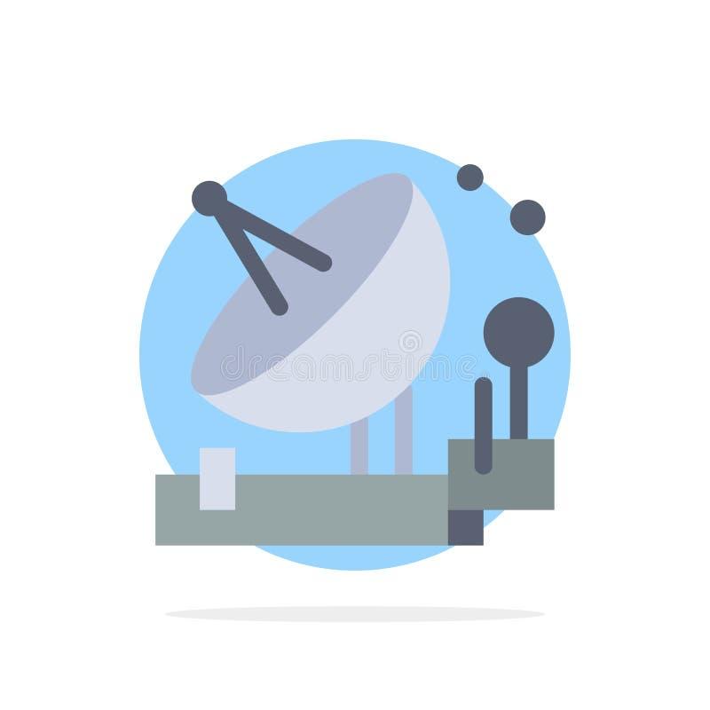 Antenne, Mededeling, Parabolisch, Satelliet, Ruimte Abstract Cirkel Achtergrond Vlak kleurenpictogram royalty-vrije illustratie