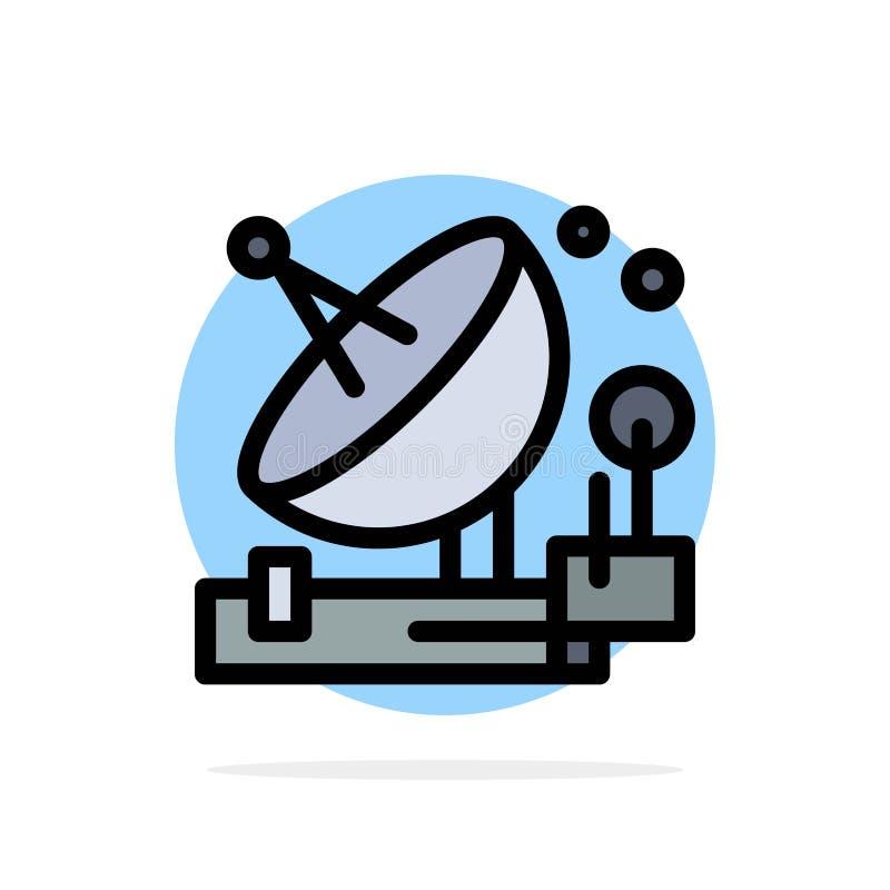 Antenne, Mededeling, Parabolisch, Satelliet, Ruimte Abstract Cirkel Achtergrond Vlak kleurenpictogram vector illustratie