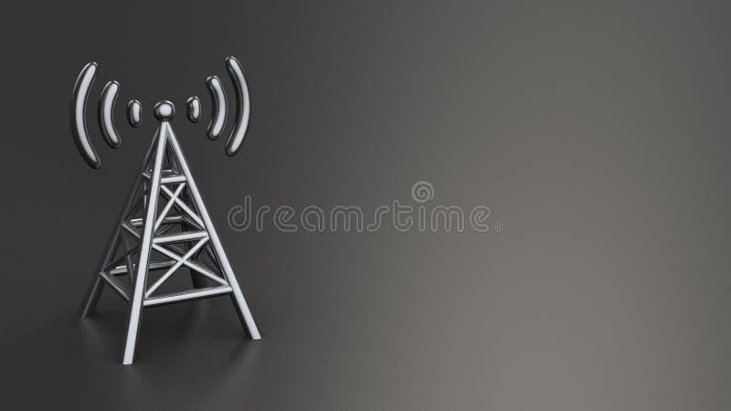Antenne op zwarte royalty-vrije illustratie