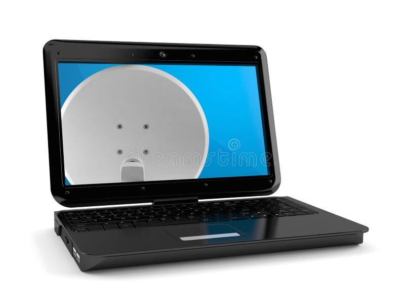 Antenne parabolique à l'intérieur d'ordinateur portable illustration libre de droits