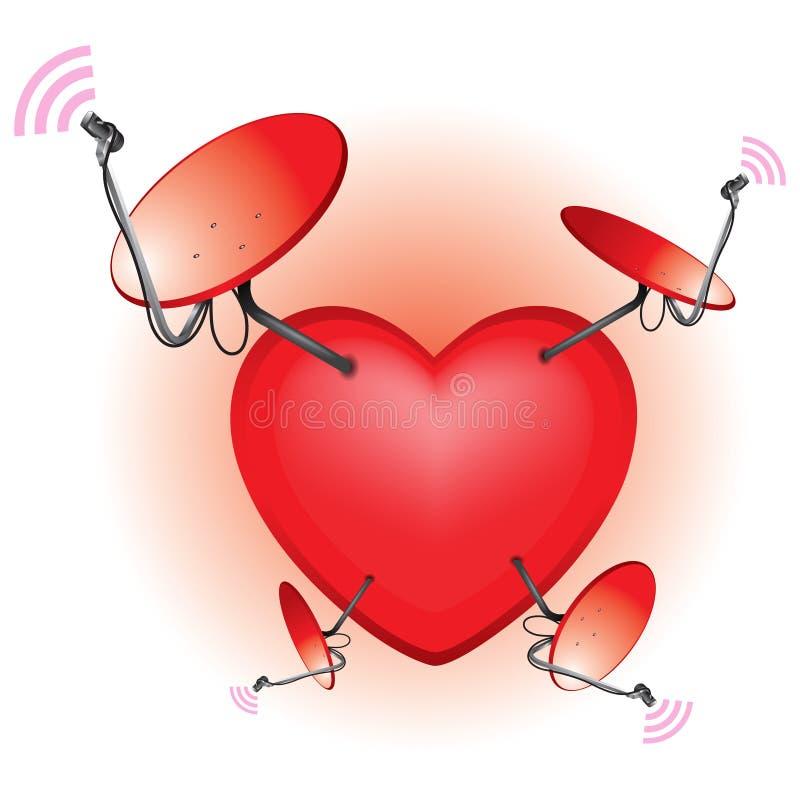 Antenne parabolique de coeur illustration stock