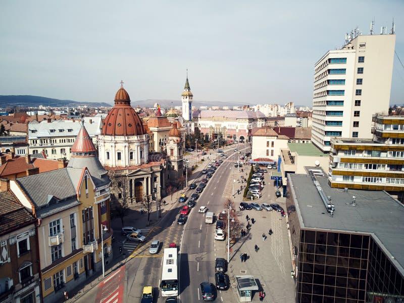Antenne van de oude stad die van Targu wordt geschoten Mures stock fotografie
