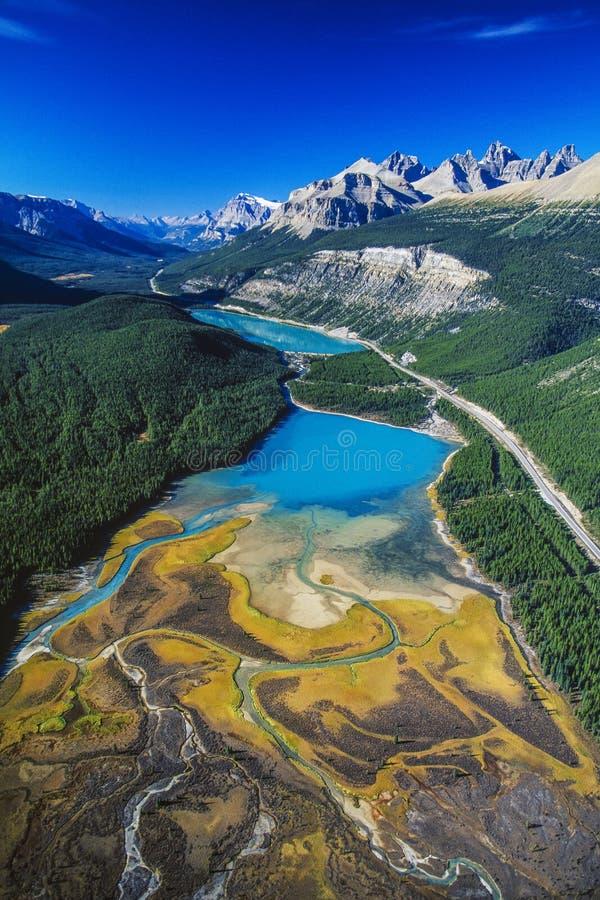 Antenne van de Rivier van Saskatchewan, Alberta, Canada royalty-vrije stock afbeelding