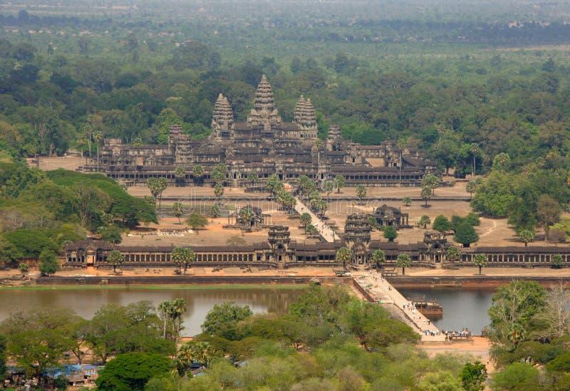 Antenne van de tempel van Angkor Wat, Kambodja, Zuidoost-Azië stock afbeeldingen