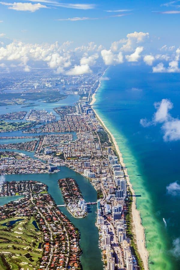 Antenne van kustlijn Miami stock afbeelding