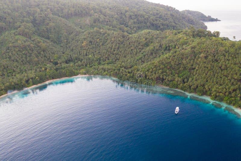Antenne van Tropische Eiland en Lagune in Papoea-Nieuw-Guinea stock fotografie