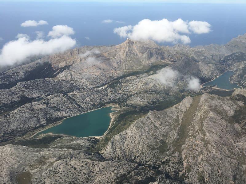 Antenne van twee meren in Mallorca stock foto