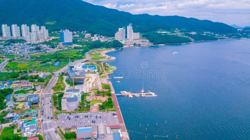 Antenne von Geoje-Schiffbau Marine Cultural Center gelegen in Geoje-Stadt von Südkorea stockbild