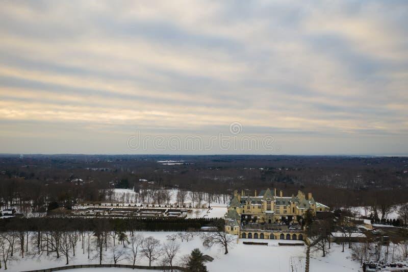 Antenne von Long Island New York mit Schnee lizenzfreie stockfotos
