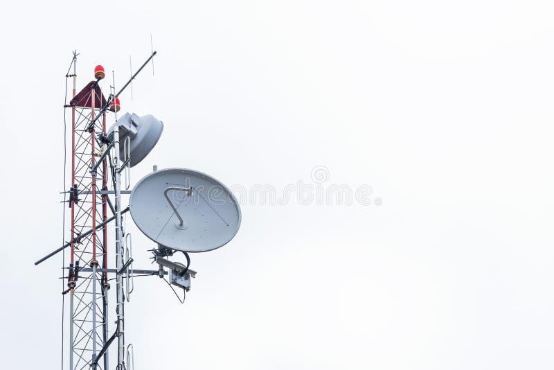 Antennemededeling en schotels royalty-vrije stock afbeelding