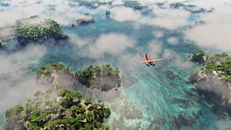 Antennen av det röda flygplanet som flyger över kust- landskap med, vaggar och träd vektor illustrationer