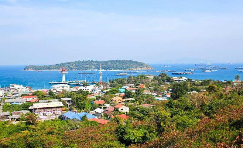 Antennen beskådar av den Sichang ön royaltyfri fotografi
