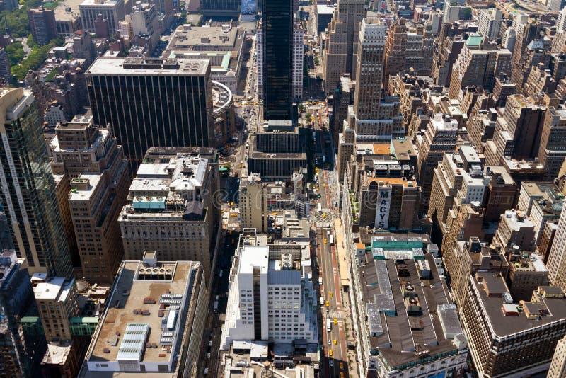 Antennen beskådar av New York City gator fotografering för bildbyråer