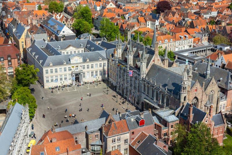 Antennen beskådar av Bruges (Brugge), Belgien royaltyfri fotografi
