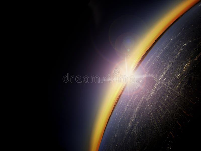 Antennen beskådar av soluppgång över en stor stad arkivfoton