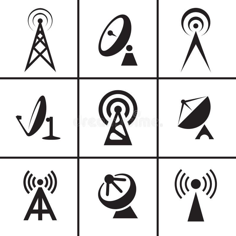 Antennen- und Satellitenschüsselikonen eingestellt stock abbildung