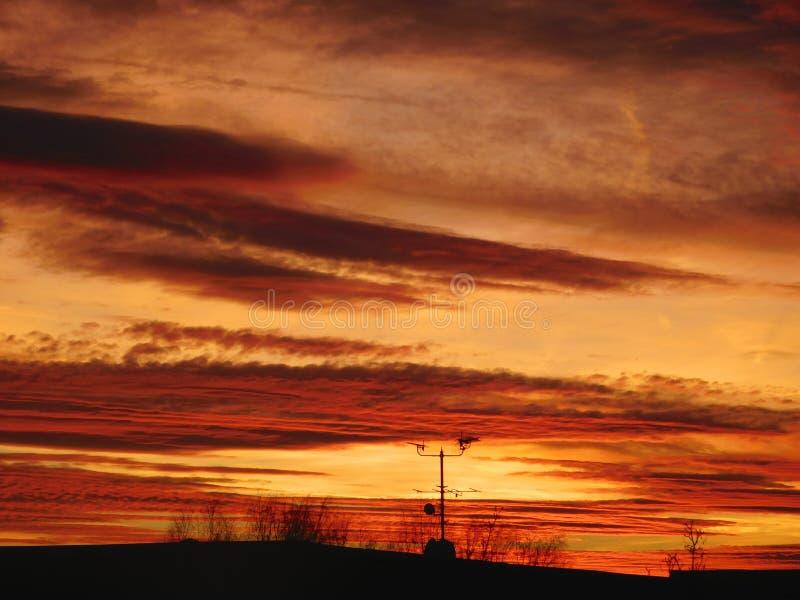 Antennenansichtsonnenuntergang stockfotografie